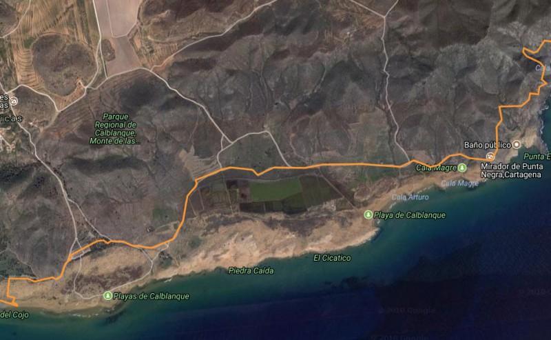 3.85km walk to Punta Negra from Playa de las Cañas in the regional park of Calblanque