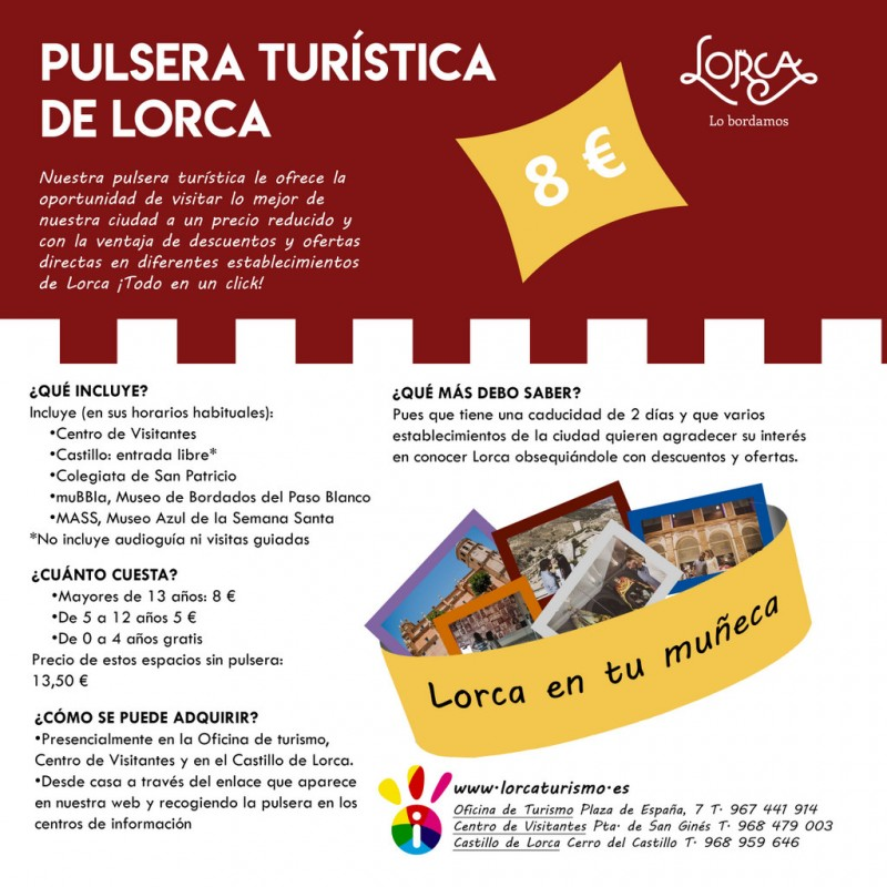 Lorca tourist wristband offers big discounts for the main attractions in Lorca