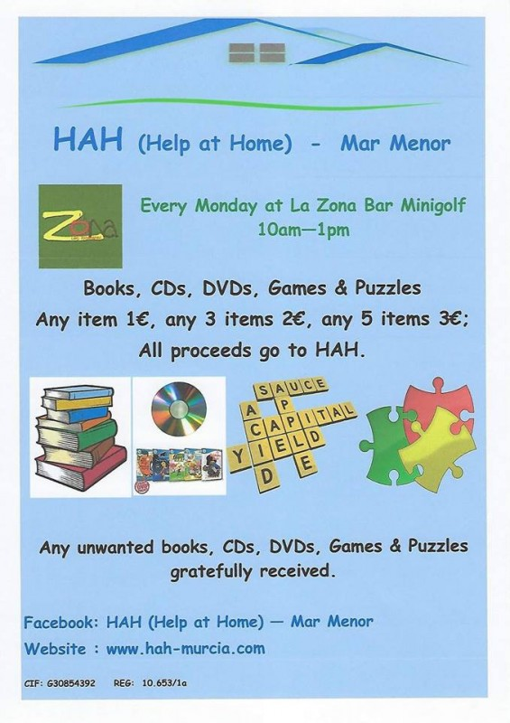 <span style='color:#780948'>ARCHIVED</span> - Every Monday HAH Help at Home tabletop sale Los Alcázares