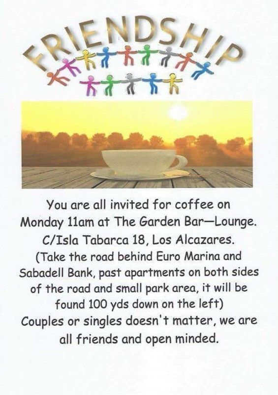 <span style='color:#780948'>ARCHIVED</span> - Every Monday Friendship Group coffee morning Los Alcázares