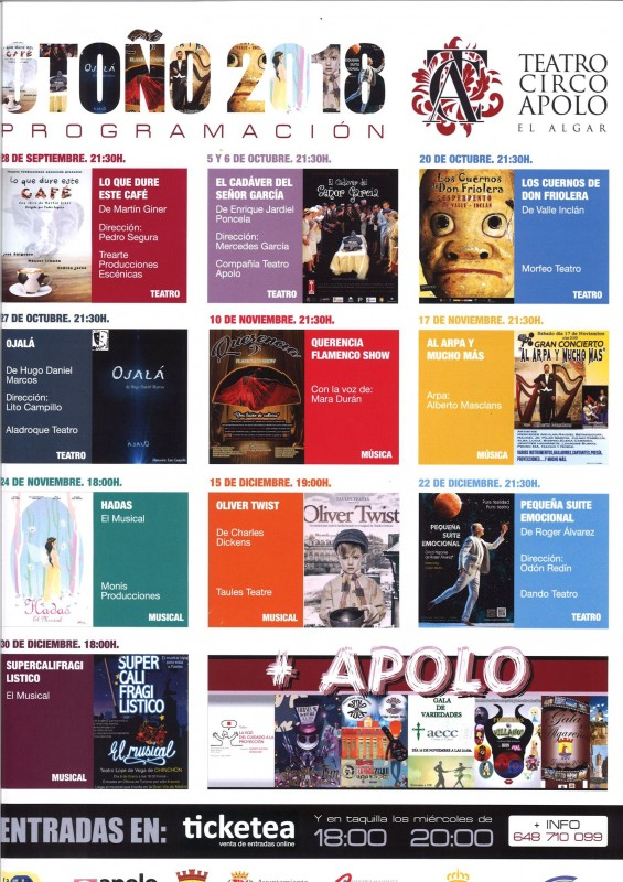 <span style='color:#780948'>ARCHIVED</span> - Programme Teatro Circo Apolo in El Algar Cartagena to end of December 2018