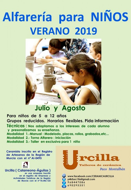 <span style='color:#780948'>ARCHIVED</span> - Águilas; Ceramic courses for children in July and August