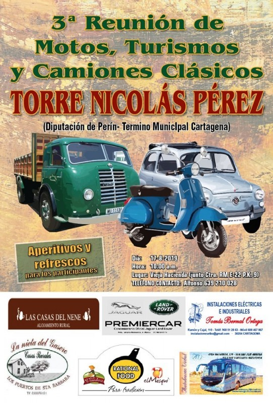 <span style='color:#780948'>ARCHIVED</span> - 17th August Gathering of classic cars, bikes and lorries in Perín, Cartagena