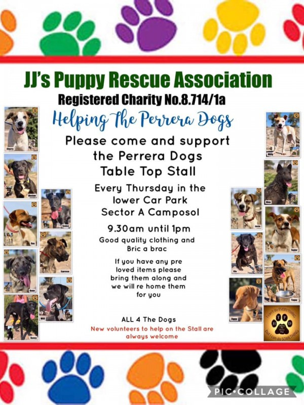 Every Thursday on Camposol Table top sale for JJs Puppies and Helping the Perrera Dogs
