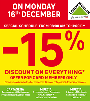 Leroy Merlin 15% discount Monday 16th December 2019